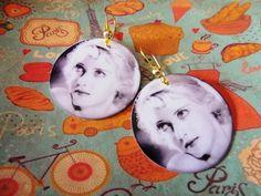 Handmade Laminated Bette Davis Photo Earrings
