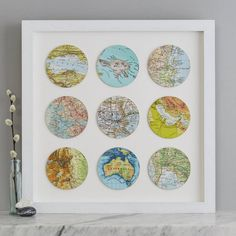 Nine personalised vintage map circle map gift anniversary Wedding Gifts For Couples, Personalized Wedding Gifts, Map Crafts, Book Crafts, Circle Map, First Anniversary Gifts, Custom Map, Travel Gifts, Vintage Maps