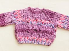 Unisex Purple Mixture Jumper Hand Knitted by Creationsfortinytots