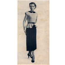 Two Piece Knitted Peplum Dress pattern, Vintage 1950s