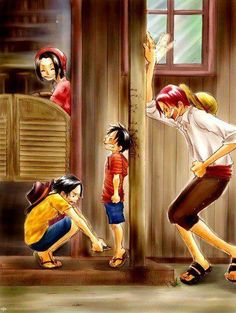 Monkey D. Luffy,Portgas D. Ace,Shanks,Red-Haired Shanks,Makino - One Piece,Anime
