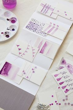 Tiny Watercolors in purple ~ Great idea for individual candle tags.
