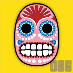 Skully 005. A kind of Day of the Dead crossed with Lucha Libre.