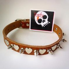 Spiked Dog Collar GENUINE LEATHER with Silver Crosses - Medium - Brown - Pet Accessories by ToxifyDesigns on Etsy