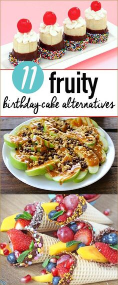 11 Fruity Birthday Cake Alternatives.  Apples, bananas and berries featured in ways you may not have thought of before.  Celebrate special occasions with a healthier cake option.