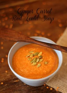 Ginger Carrot Red Lentil Soup  by Kirsten | My Kitchen in the Rockies #recipe #soup #red lentils #carrot