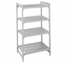 "Cambro CSU51546480 54-in Shelving Starter Unit w/ 5-Vented Shelves, 21 D x 64 H, Grey, Each by Cambro. $455.04. Cambro CSU51546480 54-in Shelving Starter Unit w/ 5-Vented Shelves, 21 D x 64 H, Grey. Camshelving Starter Unit, 21"" W x 54"" L x 64"" H, 5 shelf, includes: four posts, 2 sets of post connectors, traverses & vented shelf plates, speckled gray, NSF."