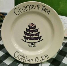 Hand painted personalized wedding plate.