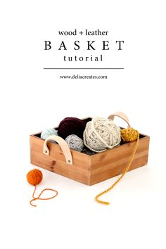 Wood + Leather Basket Tutorial // www.deliacreates.com #michaelsmakers #ad