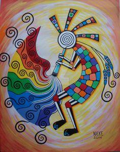 Rainbow Kokopelli-finished by nnnickeee.deviantart.com on @DeviantArt