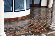 Outdoor walkway and entry with Riviera Pattern Manganese Saltillo tile. Get this quarry floor tile for your Spanish, Mediterranean or Southwestern style home. It's very versatile - Mexican Saltillo Tile flooring.