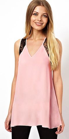 Sexy Crossover Backless Lace Spliced V-neck Loose Tops