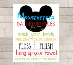 MICKEY MOUSE Bathroom Rules 8x10- PRINTABLE- Mickey- Mickey Mouse Room Decor- Custom- Boys Room- Mickey Mouse Wall Art- Mickey Mouse Sign