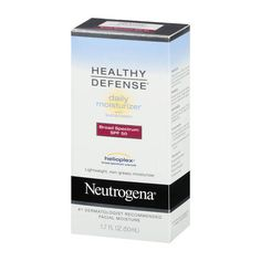 Keep your skin healthy and youthful with NEUTROGENA® HEALTHY DEFENSE® Daily Moisturizer with Broad Spectrum SPF 50 Sunscreen. This complete daily moisturizer helps provide superior protection from skin aging effects of the sun, when used with other sun protection measures. It absorbs quickly and keeps skin hydrated all day. This Broad Spectrum SPF 50 lotion contains HELIOPLEX®, an advanced sunscreen technology with Broad Spectrum UVA/UVB protection. The moistur...