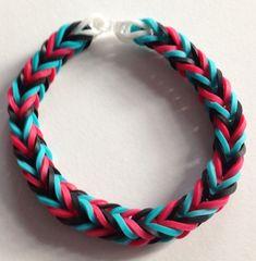 Red, Blue and Black Rubber Band Bracelet
