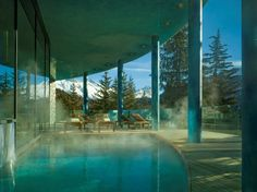 Celebrating 150 years of winter tourism in St. Moritz.Spa pool at the Carlton Hotel