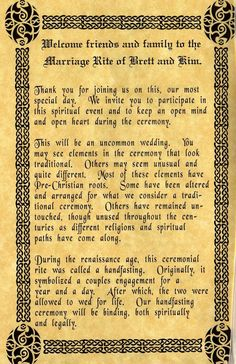 Ancient ceremony, Pagan, pre cristian, Viking...Hand fasting wedding...great first page for our wedding program!