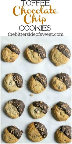 An easy cookie to make these Toffee Chocolate Chip Cookies are packed with toffee and chocolate flavor Perfect for Christmas cookie trays The Bitter Side of Sweet Cookie Recipes From Scratch, Delicious Cookie Recipes, Best Cookie Recipes, Sweets Recipes, Yummy Cookies, Sweet Cookies, Quick Recipes, Baking Recipes, Chocolate Sugar Cookie Recipe