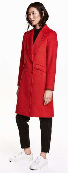 SHOP: Red H&M coat. Wear with electric blue or an apple green!