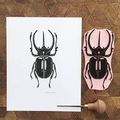 Atlas beetle - handmade original of a beetle, hand-printed - # Atlas beetle . - Atlas beetle – handmade original of a beetle, hand printed – # Atlas beetle - Stencil, Lino Art, Stamp Carving, Handmade Stamps, Linoprint, Handprint Art, Insect Art, Linocut Prints, Artwork Prints