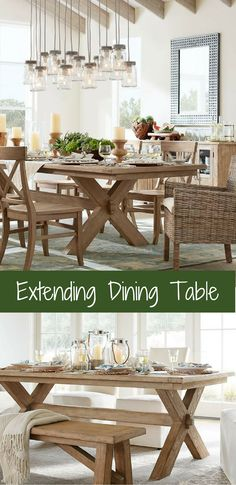 Two breadboard leaves drop in seamlessly at either end, making the table ideal for large gatherings. #ad #table #kitchen