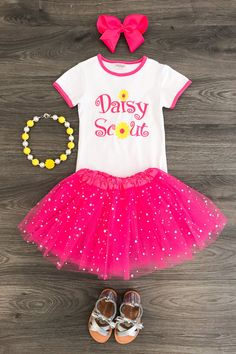 """Pair+with+a+cardigan+and+leggings+for+the+colder+months,+so+versatile!+These+tutu+skirt+sets+are+simply+stunning!+""""Daisy+Scout""""+embroidered+on+the+front+with+a+matching+soft+hot+pink+tutu+shirt+with+shimmery+stars!+Dressy+enough+for+any+event,+photoshoot,+but+still+comfy+enough+for+everyday+wear!..."""