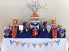 Purple and orange candy buffet