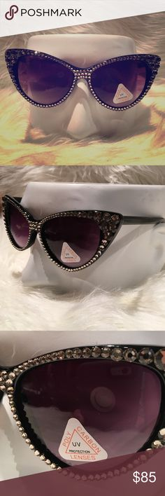 Cateye Black Diamond Swarvoski Crystal Sunglasses Brand new with tags. Sunglasses only! Accessories Sunglasses