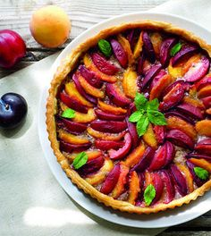 Peach and Plum Tart with Mint Walnut Pesto