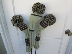 Fun idea for pom poms and knitting! Hand Knit Golf Club Head Covers Set of 3 Green Brown by magsbagz