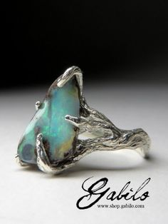 кольцо с болдер опалом