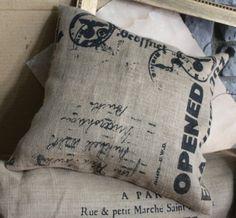 Burlap Print Pillows