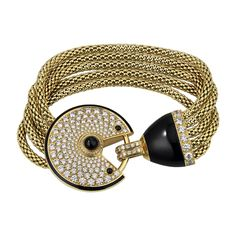 Amulette de Cartier bracelet, 18K yellow gold, set with 188 brilliant-cut diamonds totaling 4.85 carats, onyx, black lacquer. ~LadyLuxury~