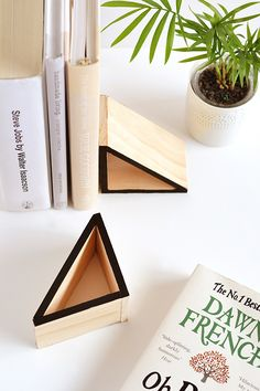DIY wood triangle bookends