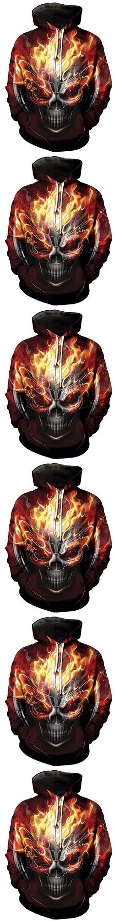 2017 NEW FASHION MEN WOMEN Burning Flame Skull HOODIE 3D Hoodie Sweatshirts Pullovers Autumn Tracksuit Winter Loose Thin Hoody