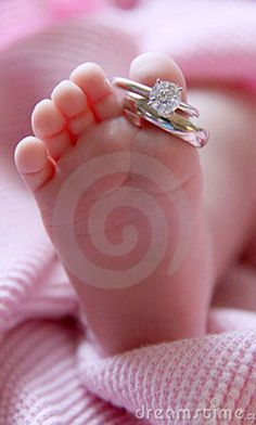 Photo about Baby foot on pink blanket with wedding rings on big toe. Ring Pictures, Wedding Pictures, Cute Pictures, Wedding Ideas, Wedding Poses, Cool Wedding Rings, Wedding Bands, Wedding Ring Photography, Heart Photography