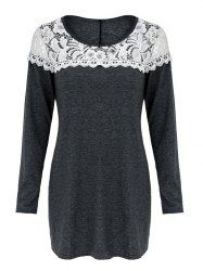Brief Scoop Neck Lace Patchwork Long Sleeves T-Shirt For Women (GRAY,XL)   Sammydress.com Mobile