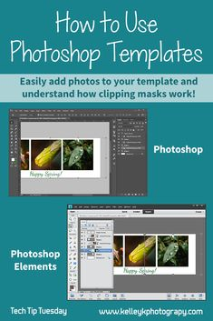 Photoshop templates are useful for creating holiday cards and other designs. Learn how to easily use PS clipping masks to add your own photos.