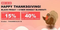 Happy Thanksgiving Sale, from Fasttech Thanksgiving Sale, Code Promo, Cyber Monday, Black Friday, Vape, Html, Points, Bons Plans, Baskets