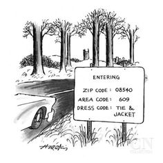 Sign by the side of the road that reads, 'ENTERING ZIP CODE: 08540; AREA … - New Yorker Cartoon Premium Giclee Print