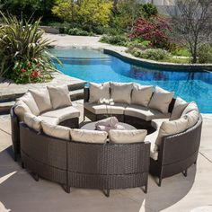 <strong>Home Loft Concepts</strong> Avalon Wicker 10 Piece Lounge Seating Group with Cushions