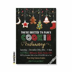 Cookie Swap Invitation, Cookie Exchange Party, Holiday Cookie Exchange Invites, Cookie Decorating, Chalkboard, Christmas Cookie Party 85 by 800Canvas on Etsy