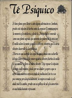 Trastos de Bruja: Té Psiquico Wiccan Witch, Wiccan Spells, Witchcraft, Magic Spells, Magick Book, Protection Spells, Spiritual Path, Book Of Shadows, Occult