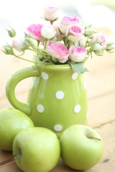 """pink and greens Explored Thank you so much"" by lucia and mapp on Flickr - Green Polka Dot Pitcher and Green Granny Smith Apples"