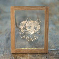 北欧创意礼品熊猫夜灯生日礼物宜家相框实木国宝熊猫台灯-淘宝网