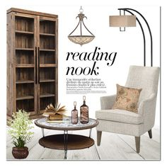 """Reading nook"" by helenevlacho ❤ liked on Polyvore featuring interior, interiors, interior design, home, home decor, interior decorating and Nook"