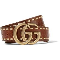 GucciEmbossed Leather Waist Belt (41.070 RUB) ❤ liked on Polyvore featuring accessories, belts, chocolate, leather buckle belt, woven belt, buckle belt, leather belts and embossed belt