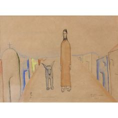 """Candido Portinari, Brazilian Watercolor and ink on paper, """"God & Dog"""" Watercolor And Ink, Oriental Rug, Paintings, Fine Art, Statue, God, Antiques, Paper, Dios"""