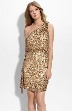 Aidan Mattox Sequin One Shoulder Dress.