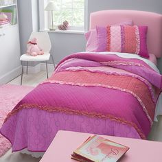 Luka Quilt Bedding | Company Kids bright pink girls bedding